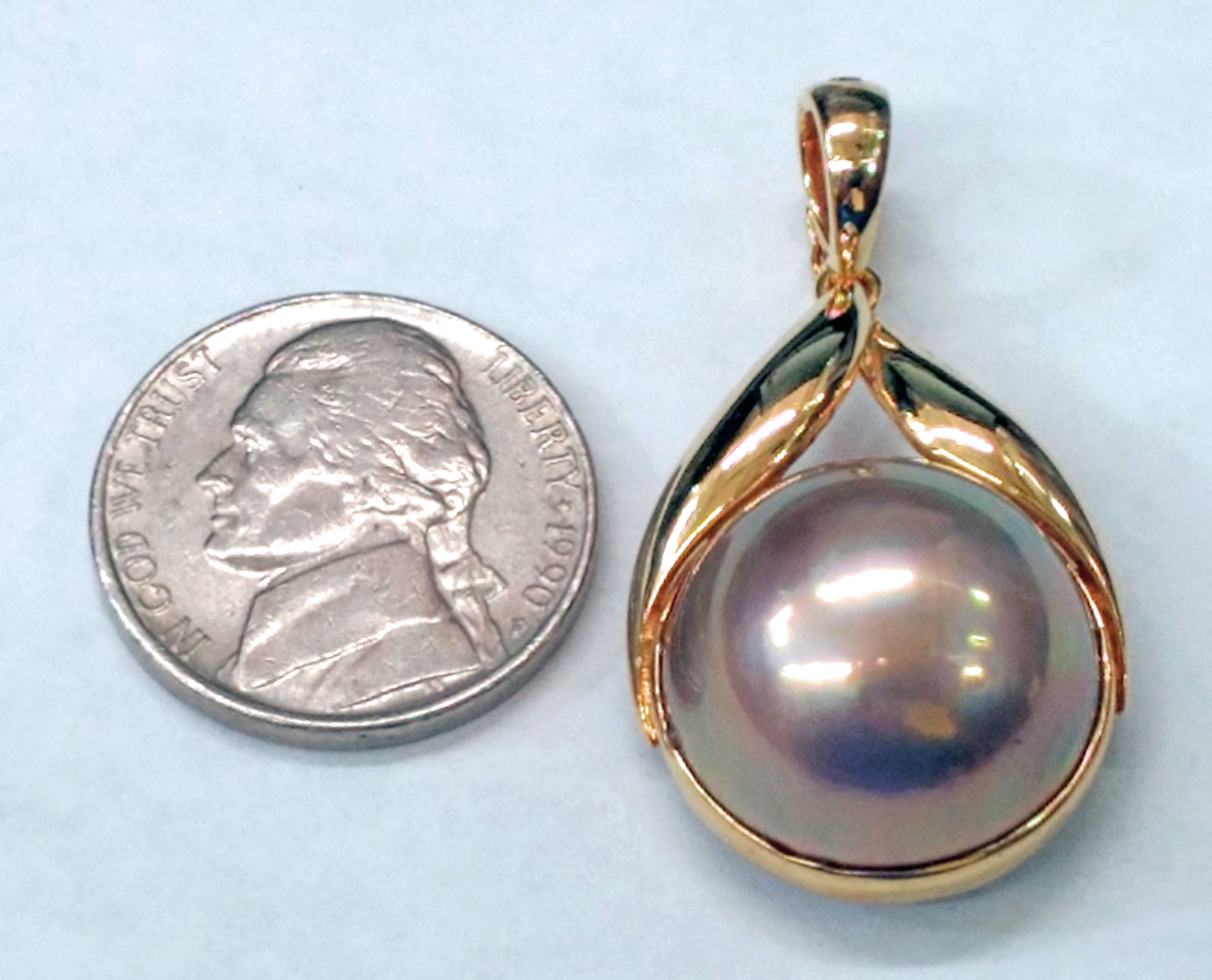 17.5mm Lavender Mabe Pearl Set in 14kt Yellow Gold Pendant with Enhancer