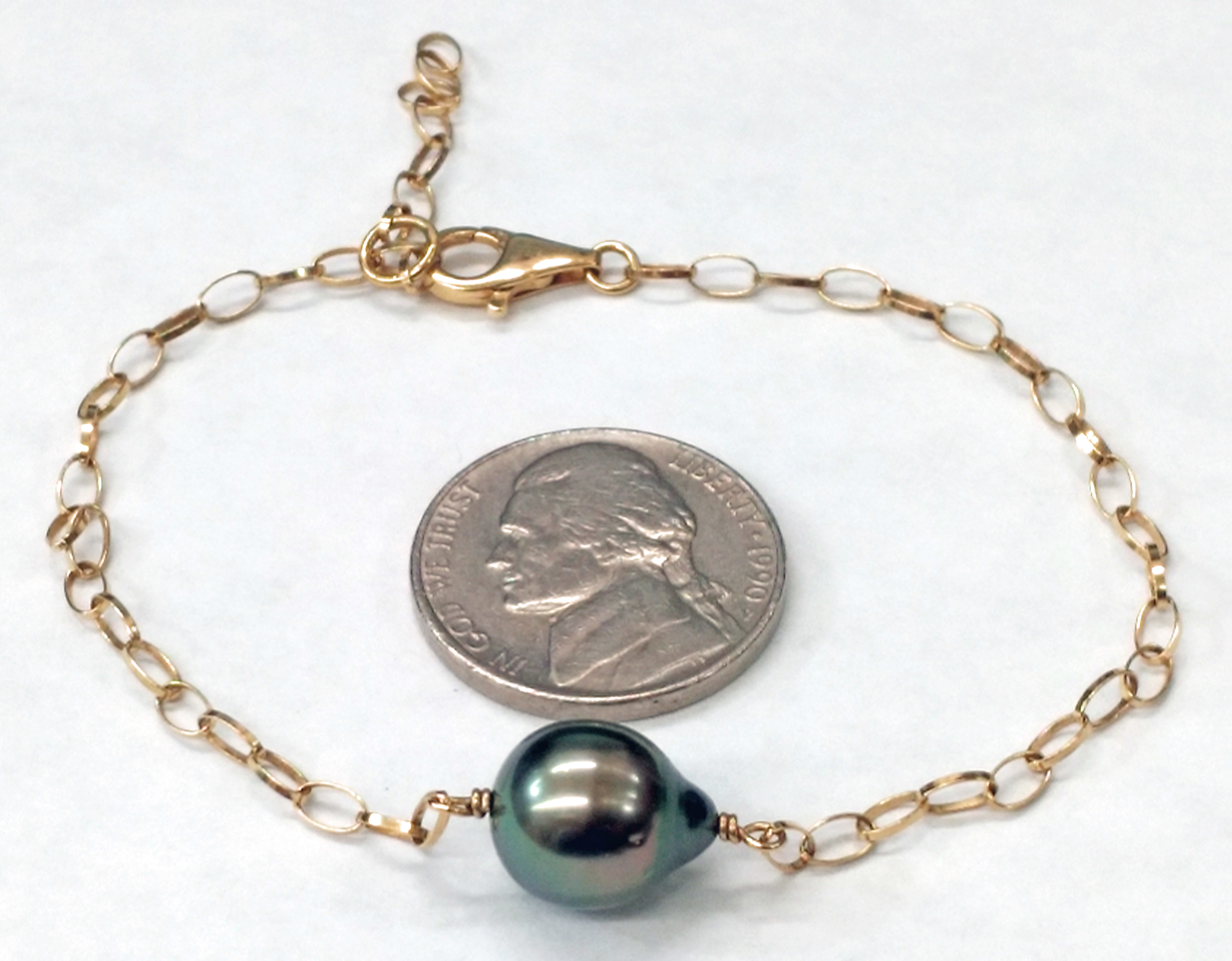 10mm Black Baroque Pearl and 14kt Yellow Gold Adjustable 9