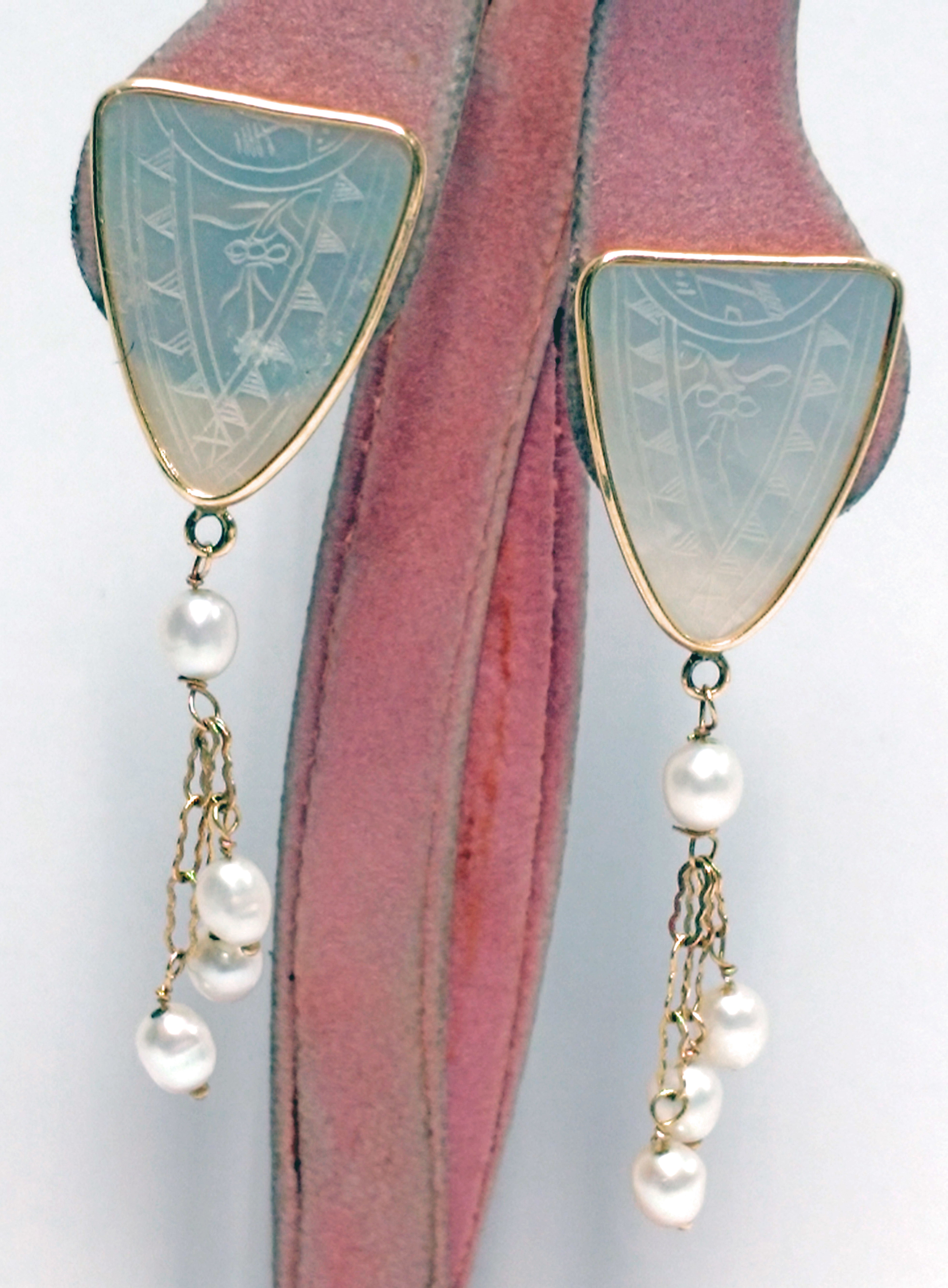 Antique Mother of Pearl Chinese Gaming Token 14kt Yellow Gold Dangle Earrings
