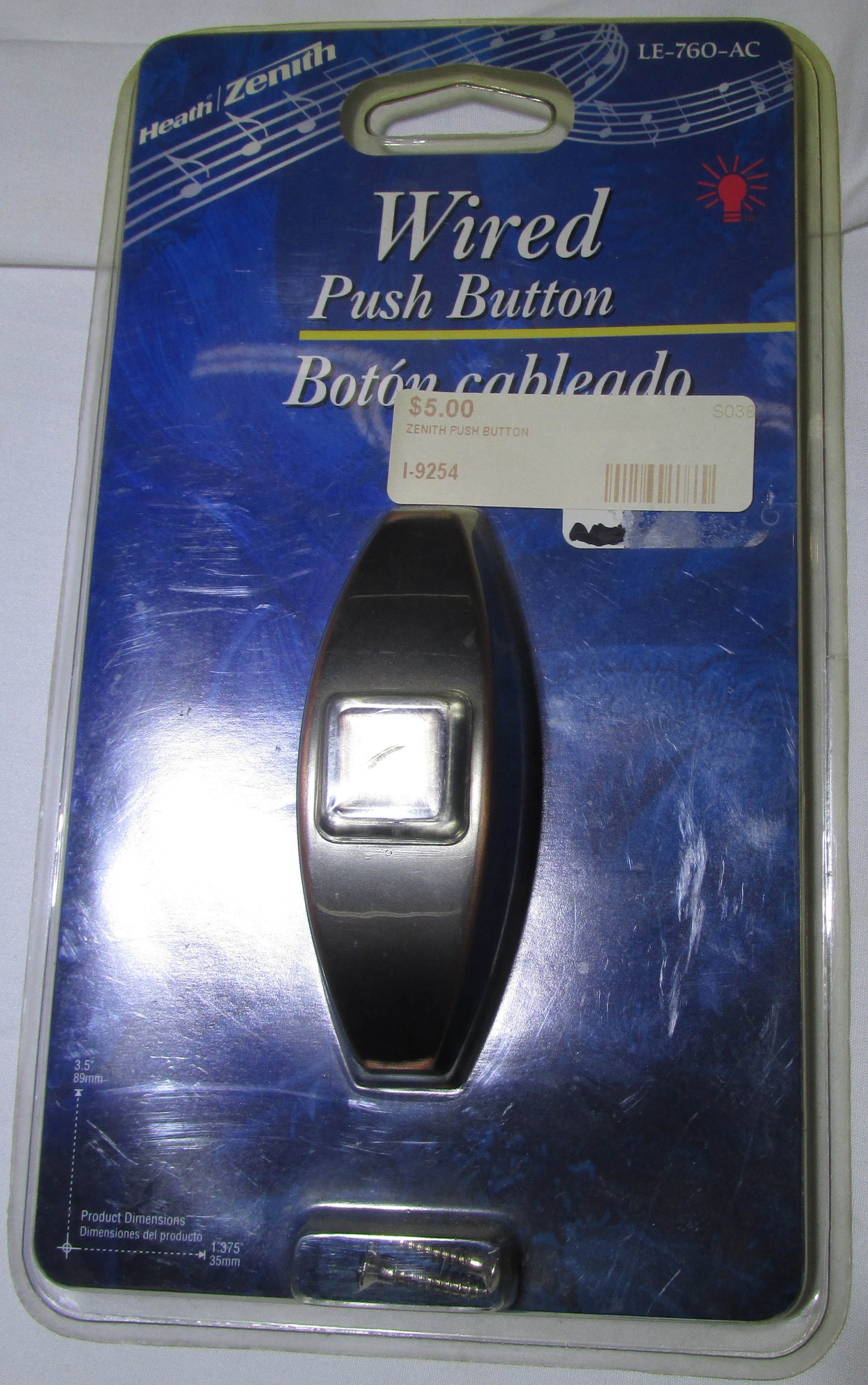 Heath/Zenith LE-760-AC Wired Push Button  -  NEW IN PACKAGE