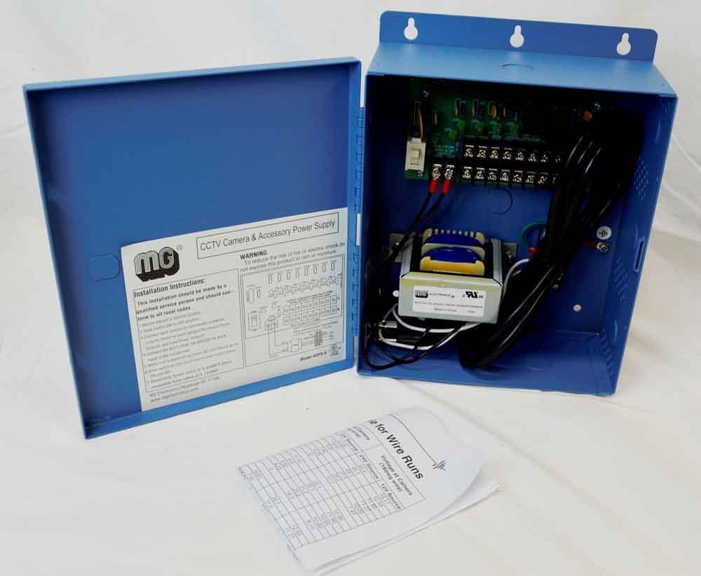 MG Electronics 24 VAC Distributed Power Supply Box DPS-9 for 9 Camera CCTV - NEW