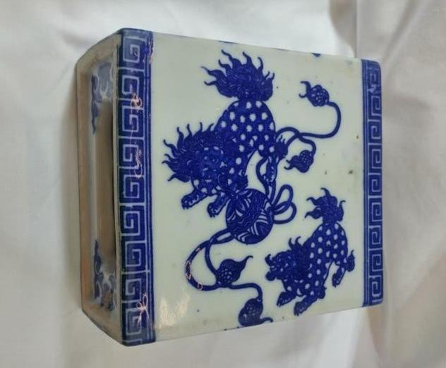 Chinese Ceramic Pillow - Blue and White with Lion Design