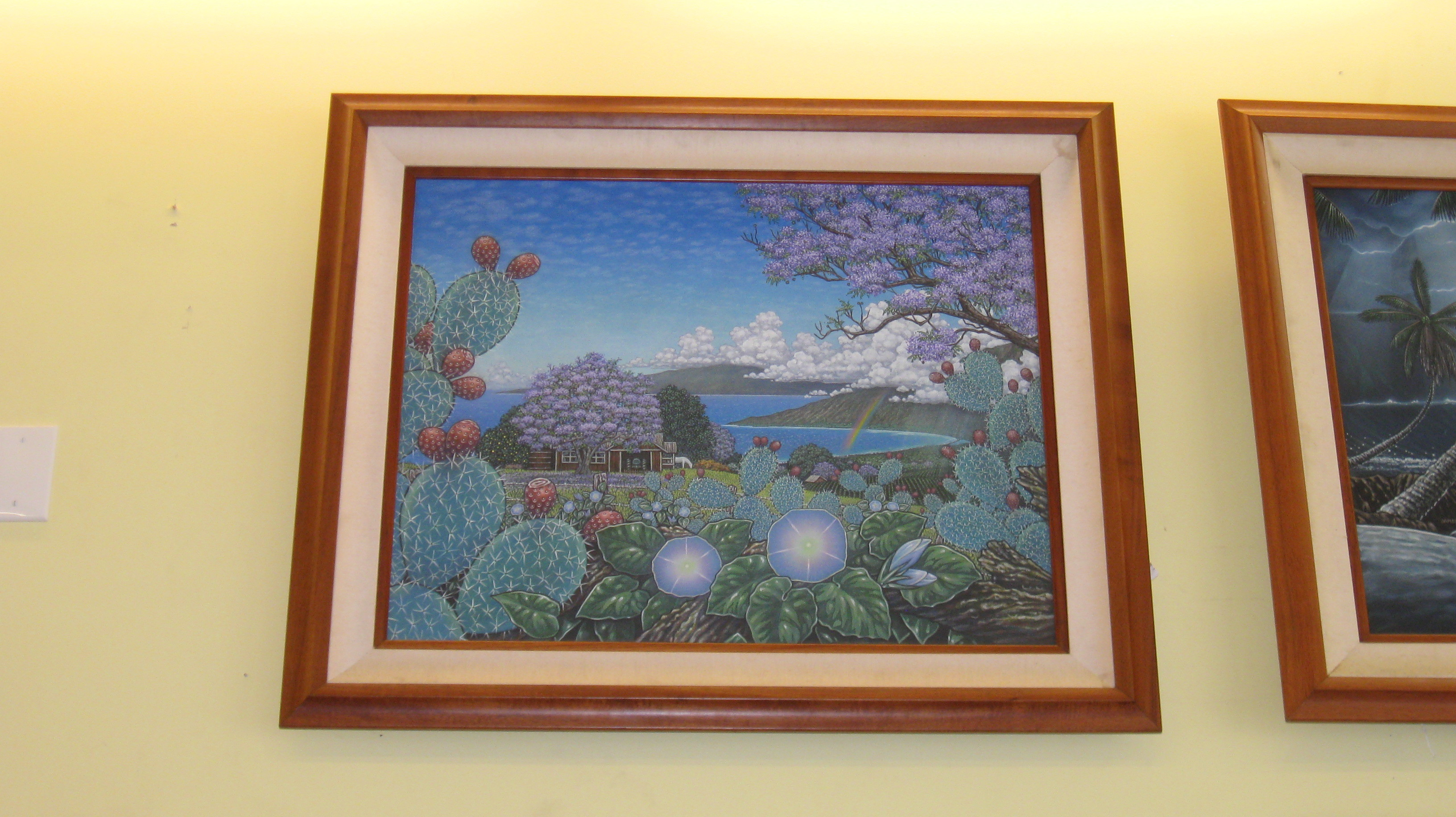Upcountry Ocean View James Fields Painting - Koa Frame 34