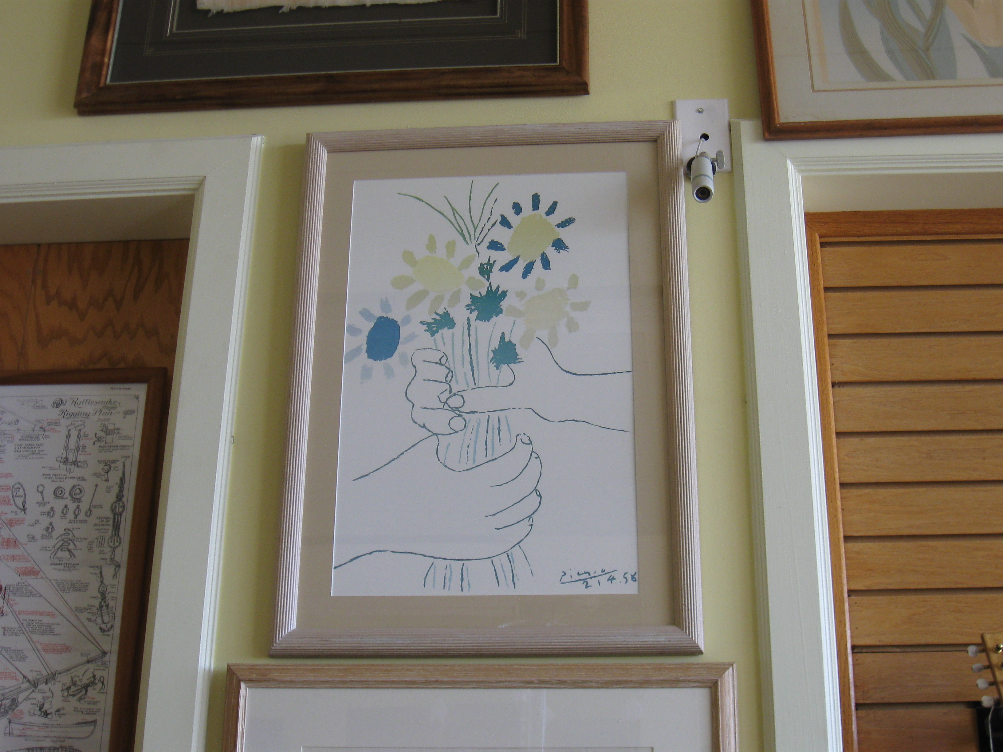 Pablo Picasso Flowers and Hands Print Signed and Dated 21.4.58 Approx. 30