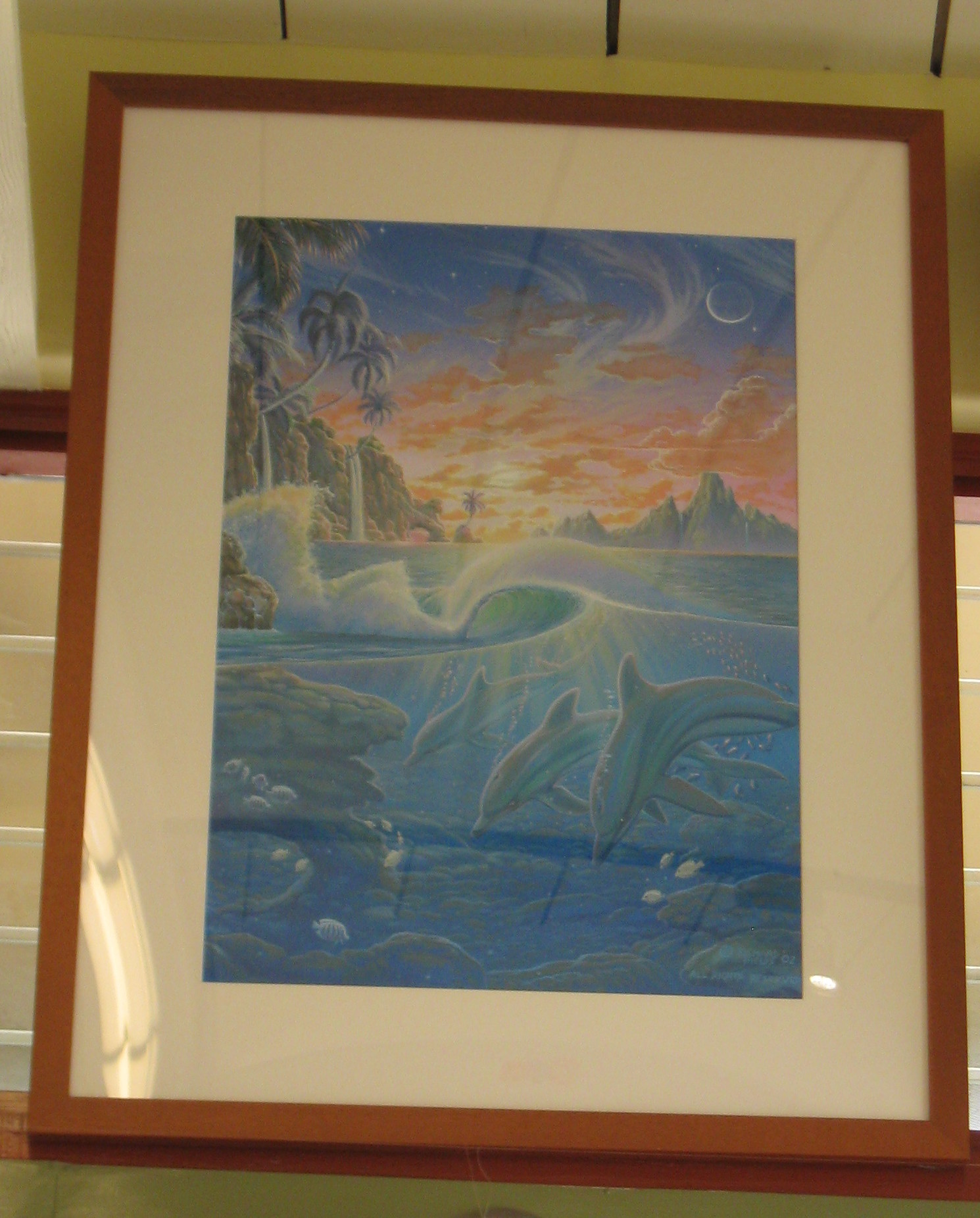 Dolphins Under the Waves at Sunset Framed Painting by Richard Fields  37