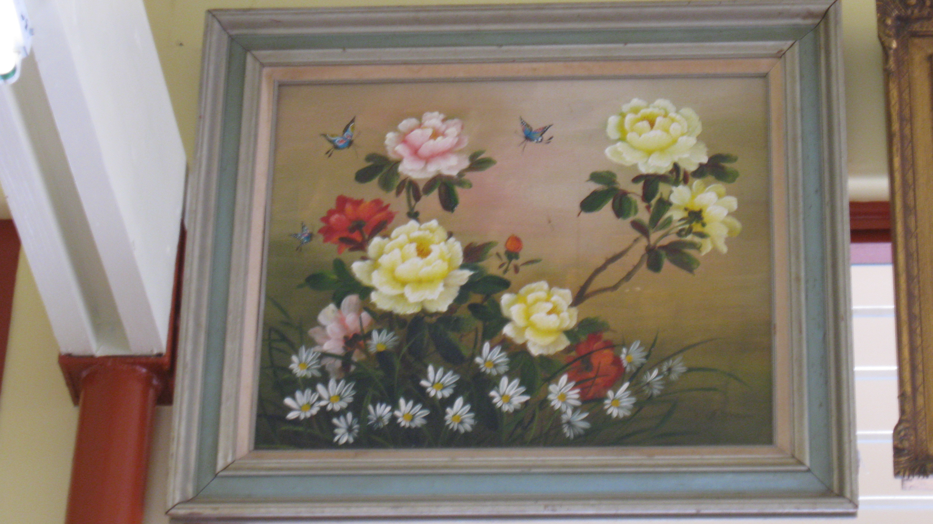 Butterflies and Multi-Color Flowers Framed Oil Painting - *Store Pick Up**