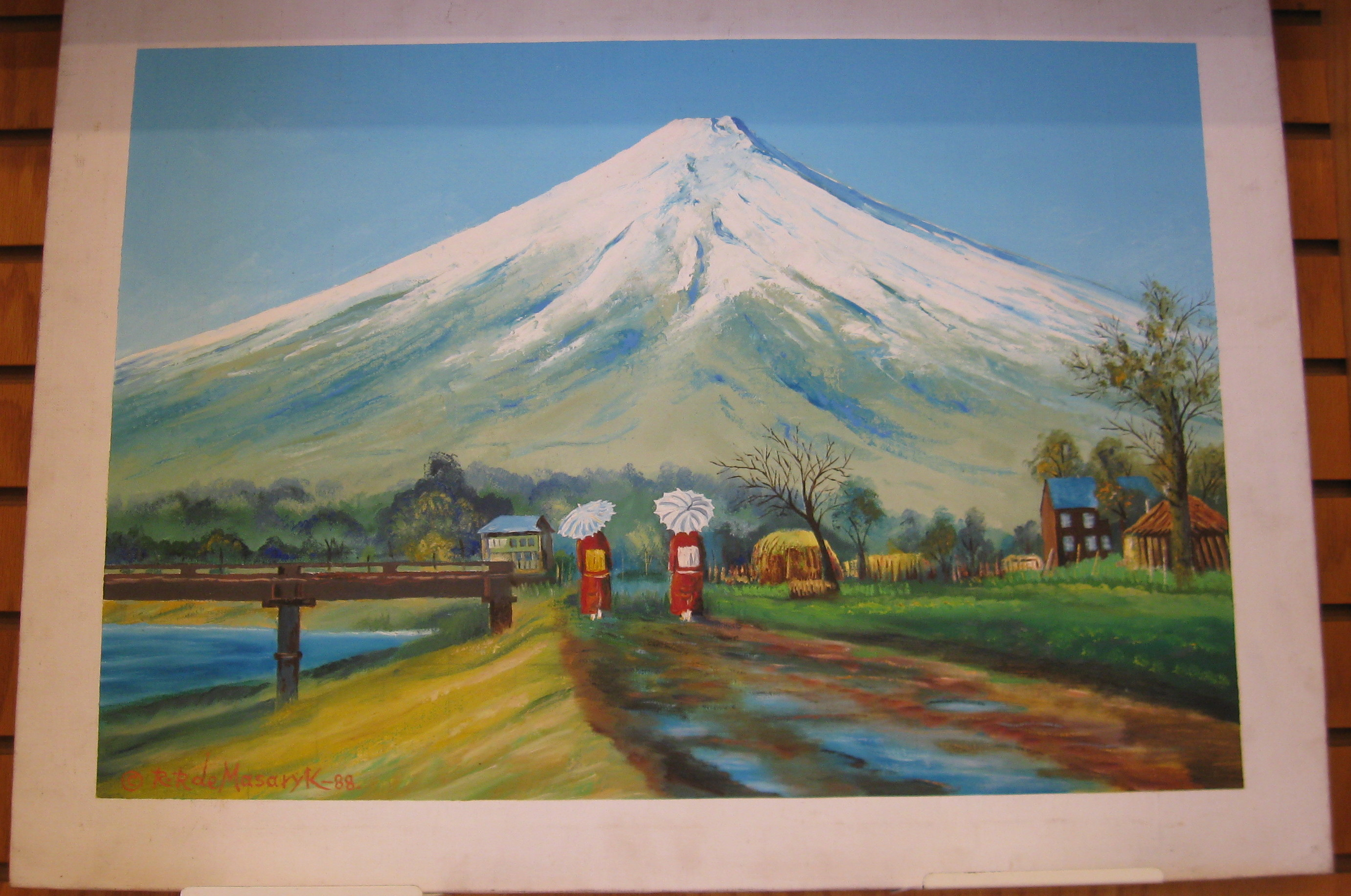 Mount Fuji Painting by R. R. Masaryk 1988 - **Store Pick Up**