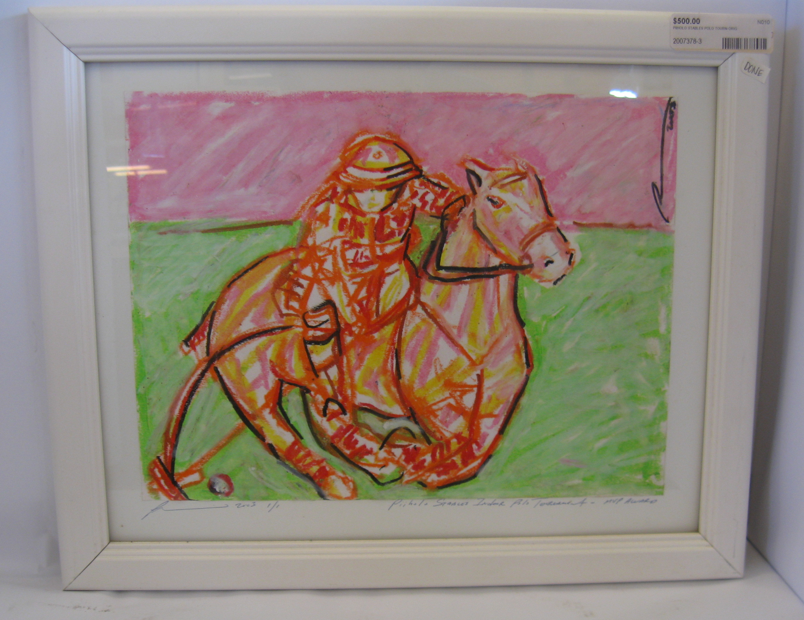 Two MVP Award Winning Piiholo Stables Indoor Polo Tournament Framed Art Pieces