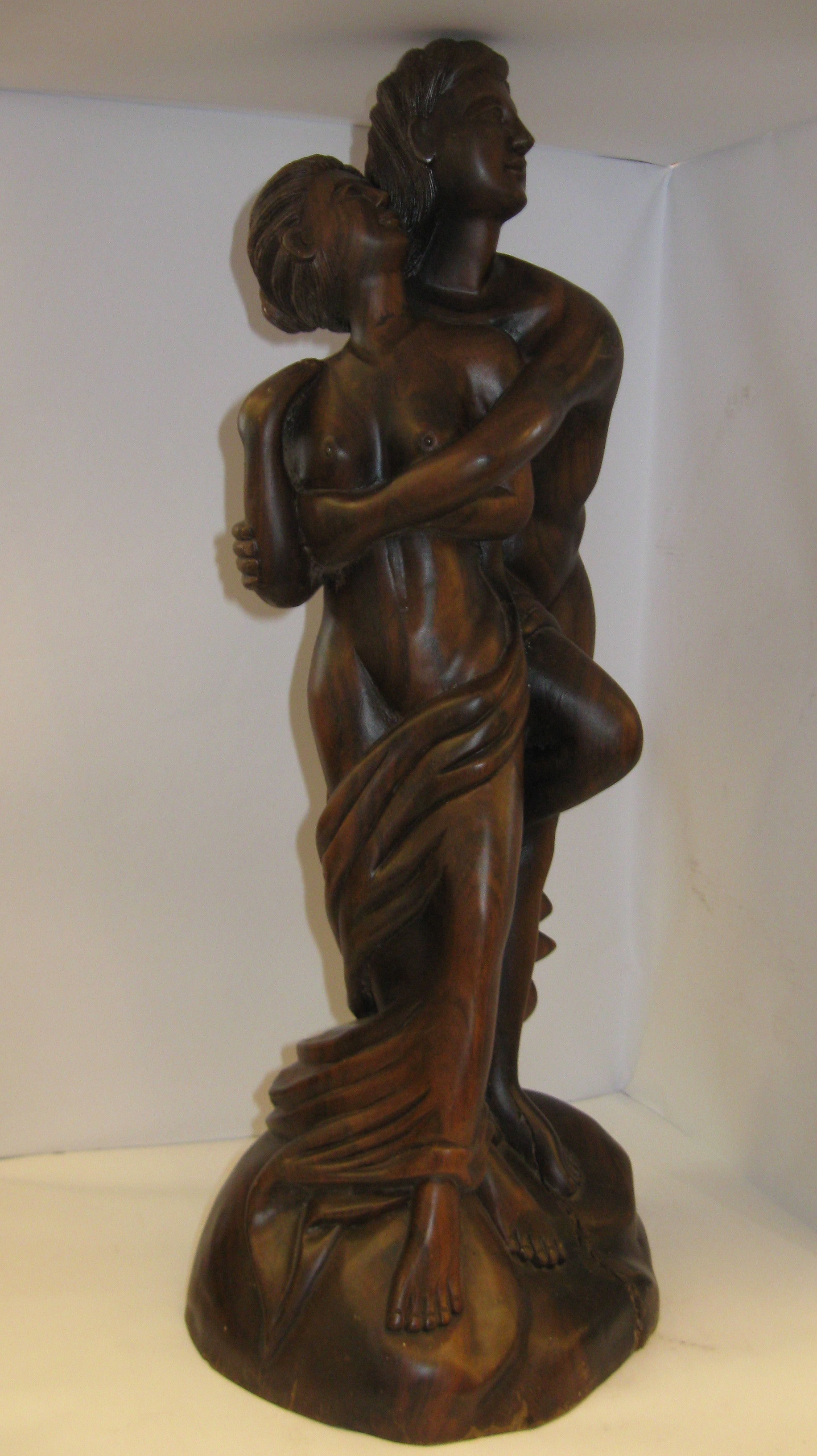 Hand-crafted Wooden Statue of a Couple Embracing - 20