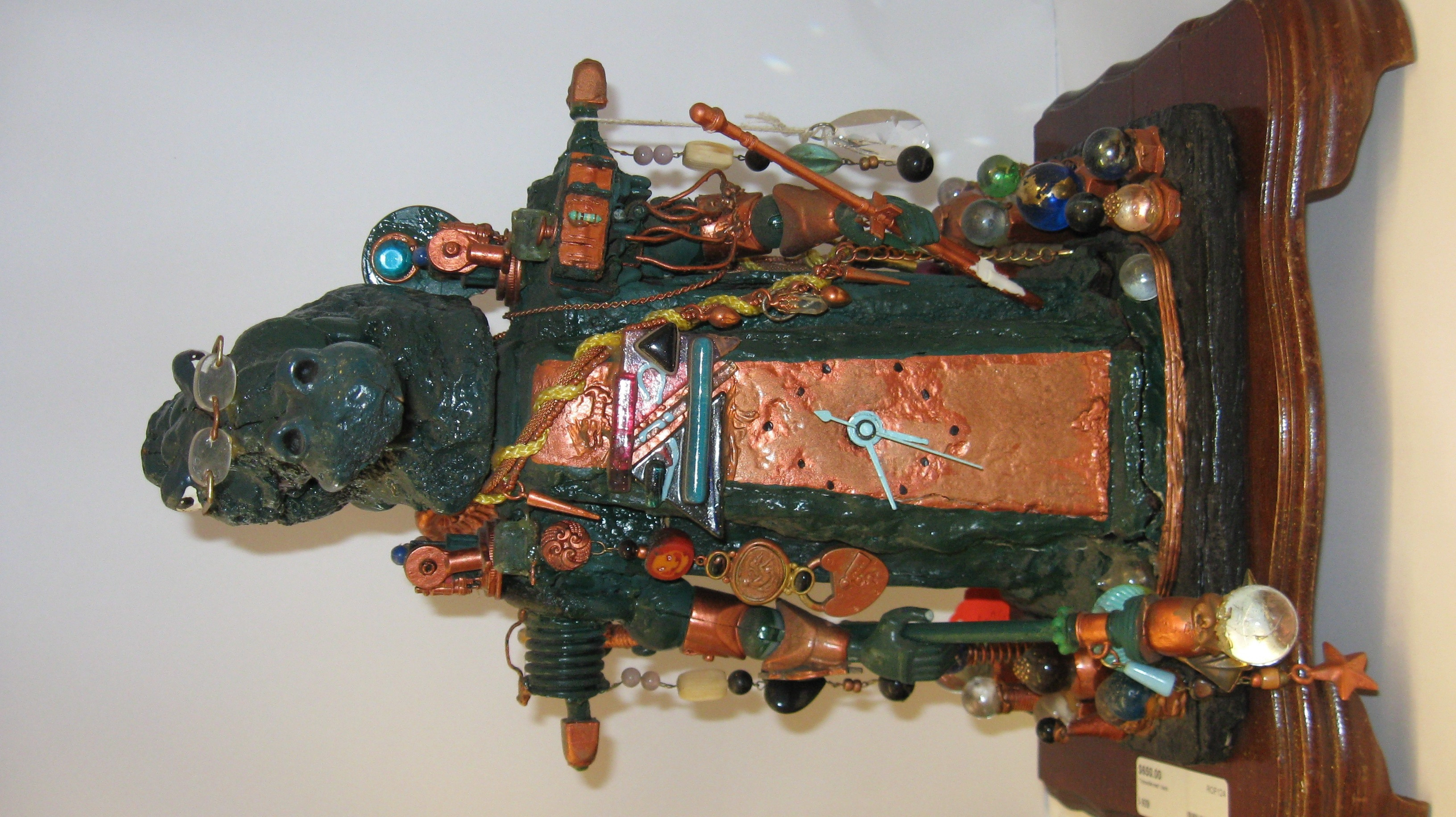 Unique Artistic Crocodile Man Clock Adorned with Charms Trinkets and Marbles