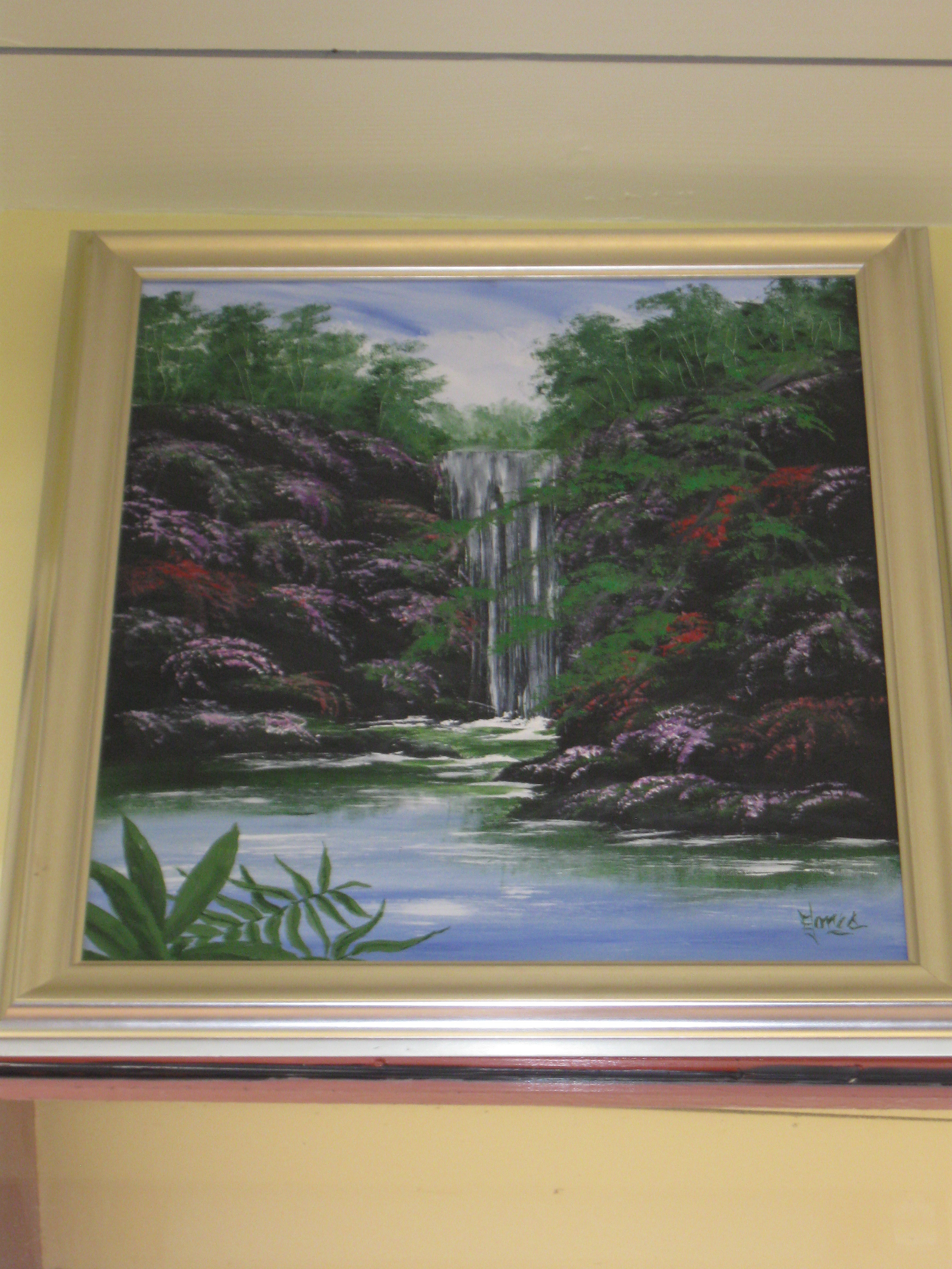 Waterfall and Pond Framed Oil Painting - **Store Pick Up**