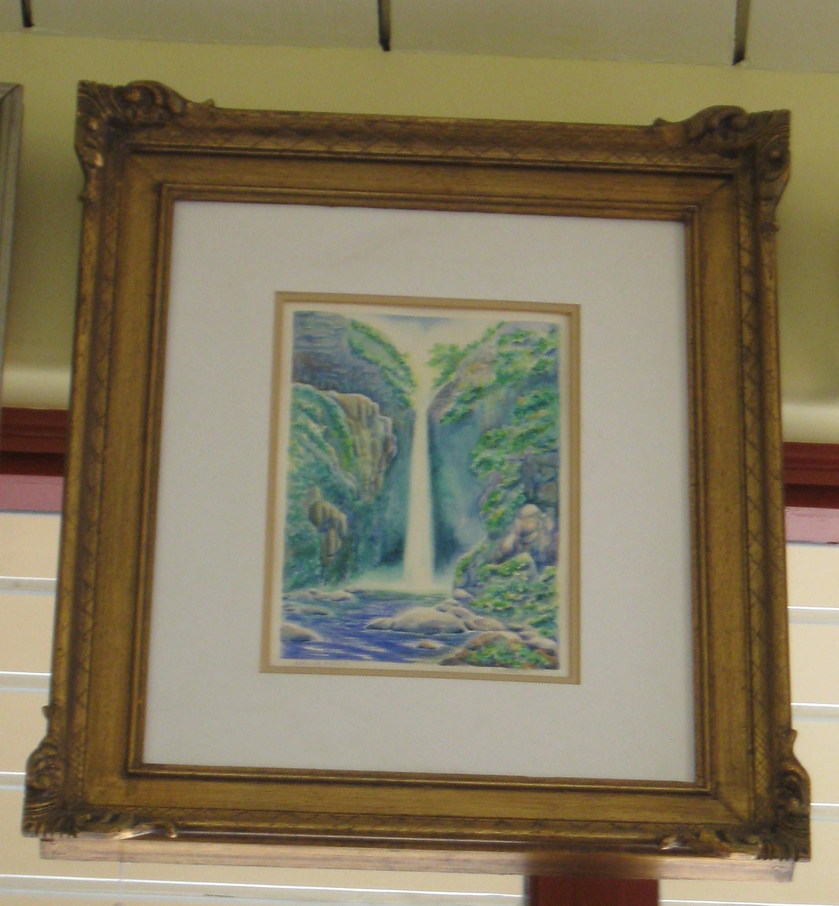 Wailua Falls in Lihue, Kauai Framed Watercolor Painting - **Store Pick Up**