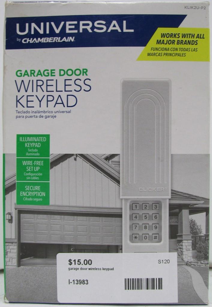 Universal by Chamberlain Garage Door Wireless Keypad KLIK2U-P2 with Manual - NEW