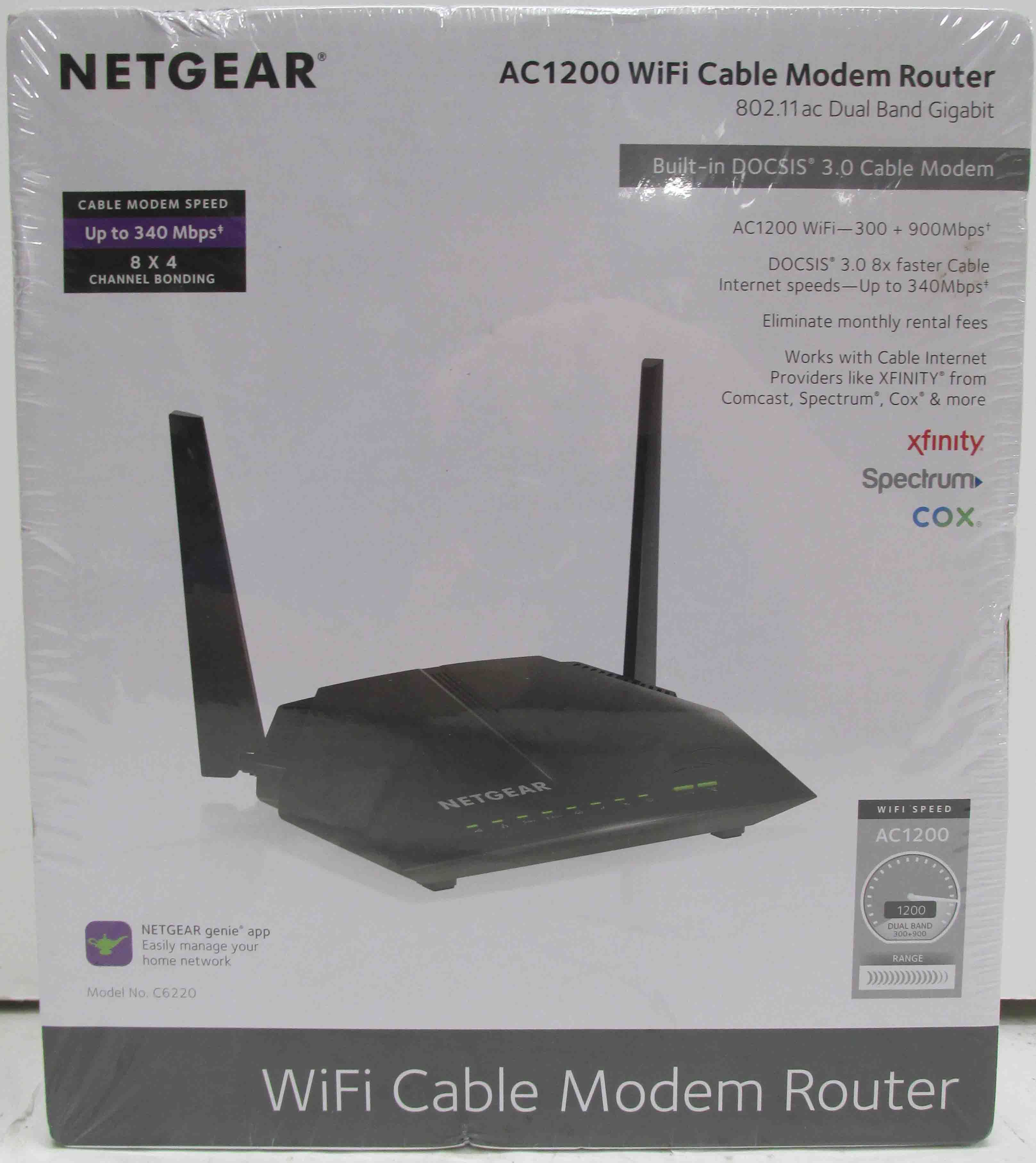 Netgear AC1200 WiFi Cable Modem Router Model No. C6220  -  NEW IN BOX