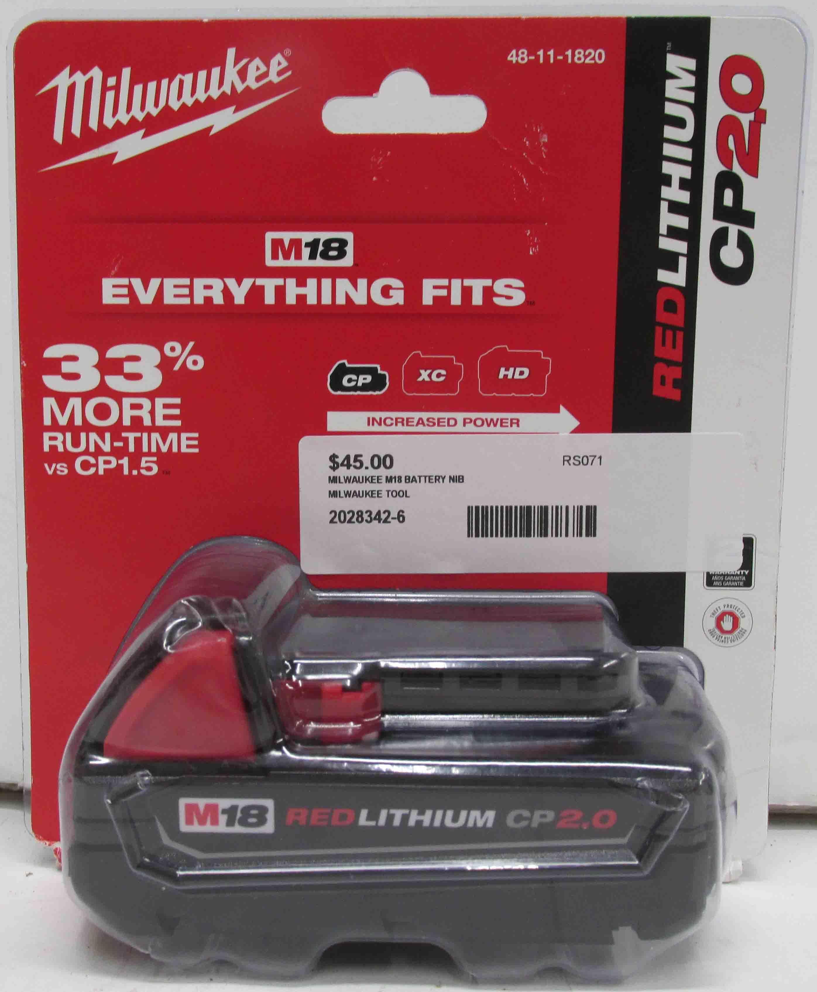 Milwaukee 48-11-1820 M18 RedLithium CP2.0 Battery  -  NEW