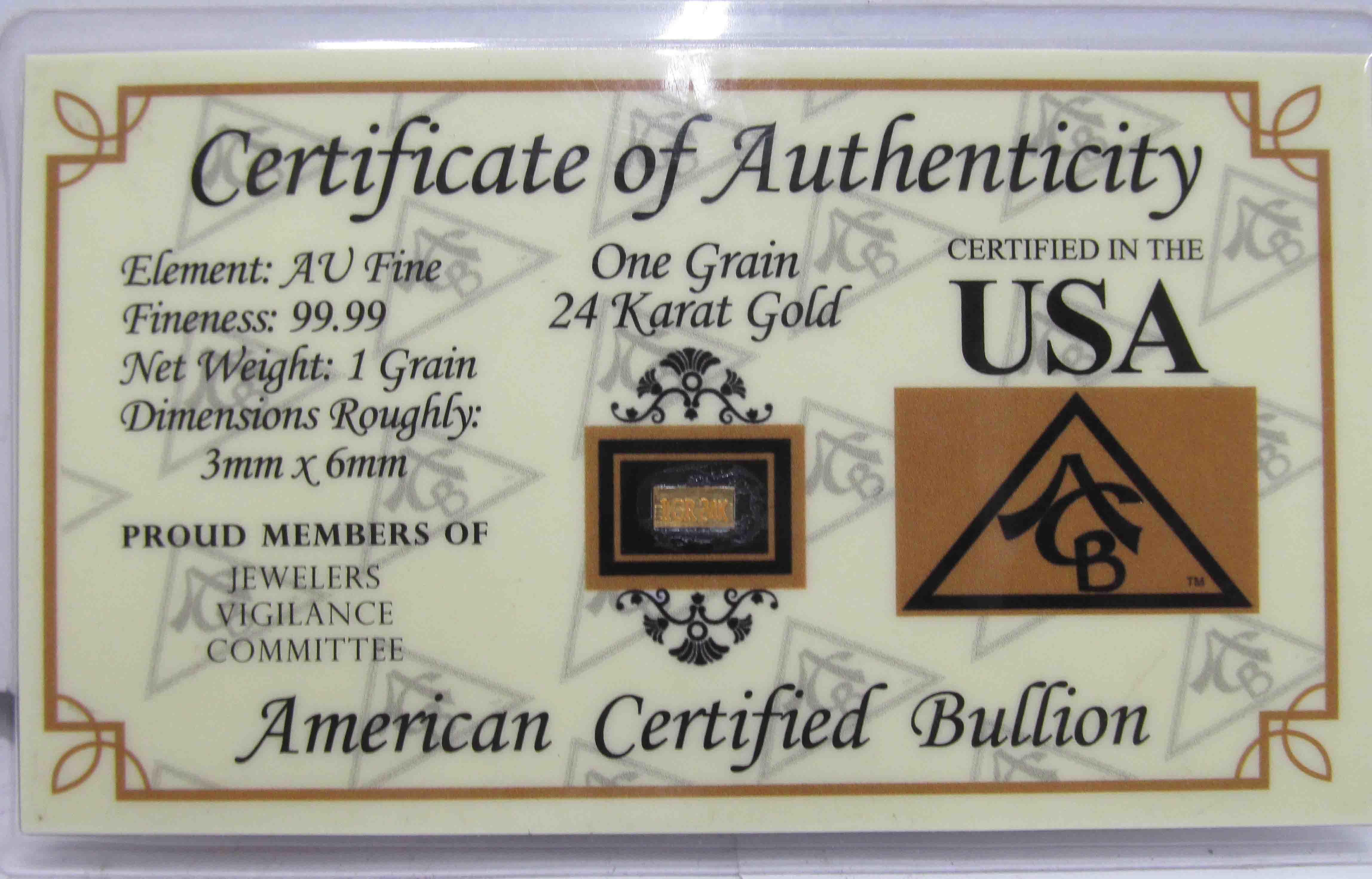 1 Grain 99.99 24 Karat Gold Bar American Certified Bullion and COA
