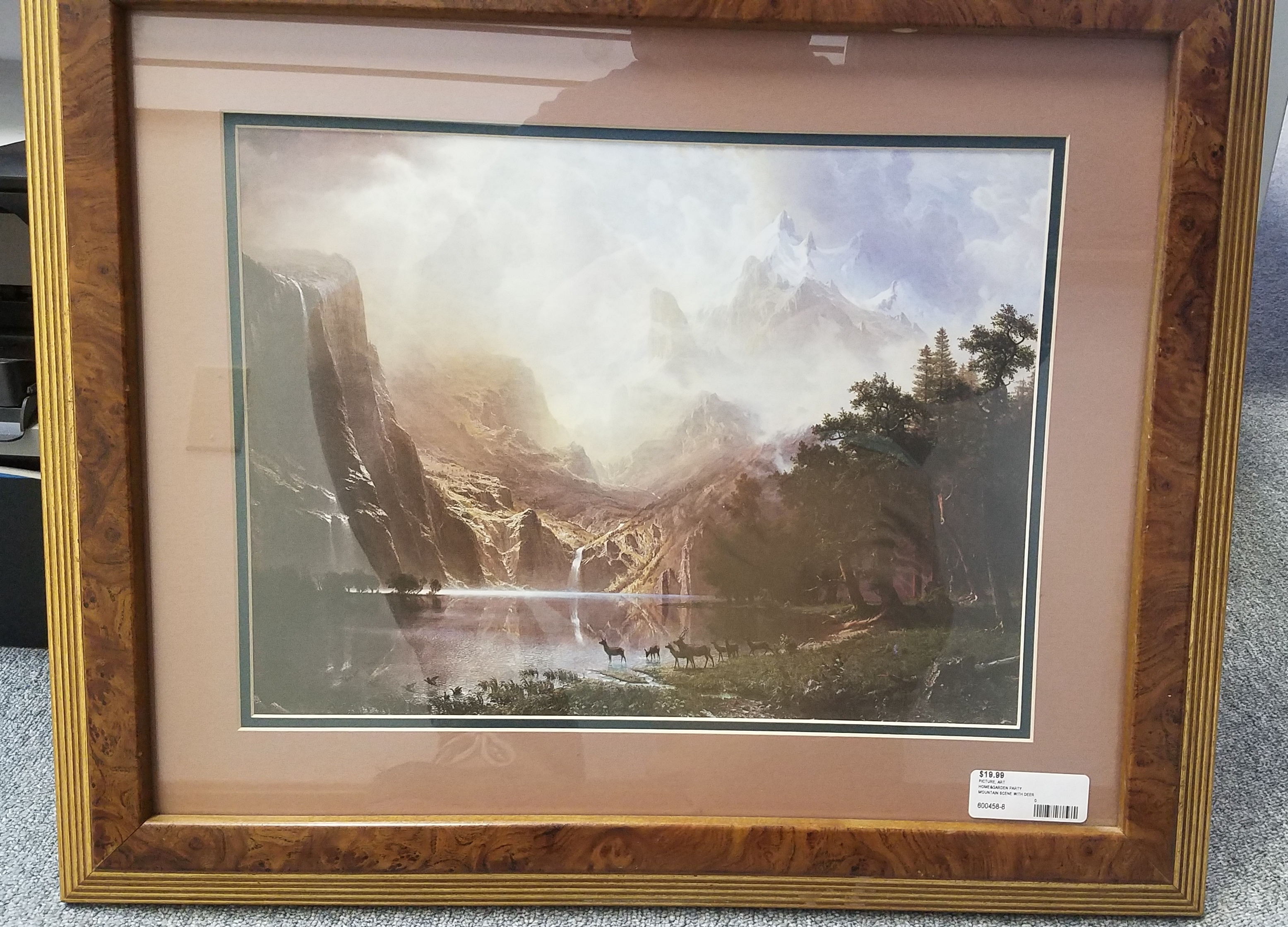 Mountain Scene with deer Print