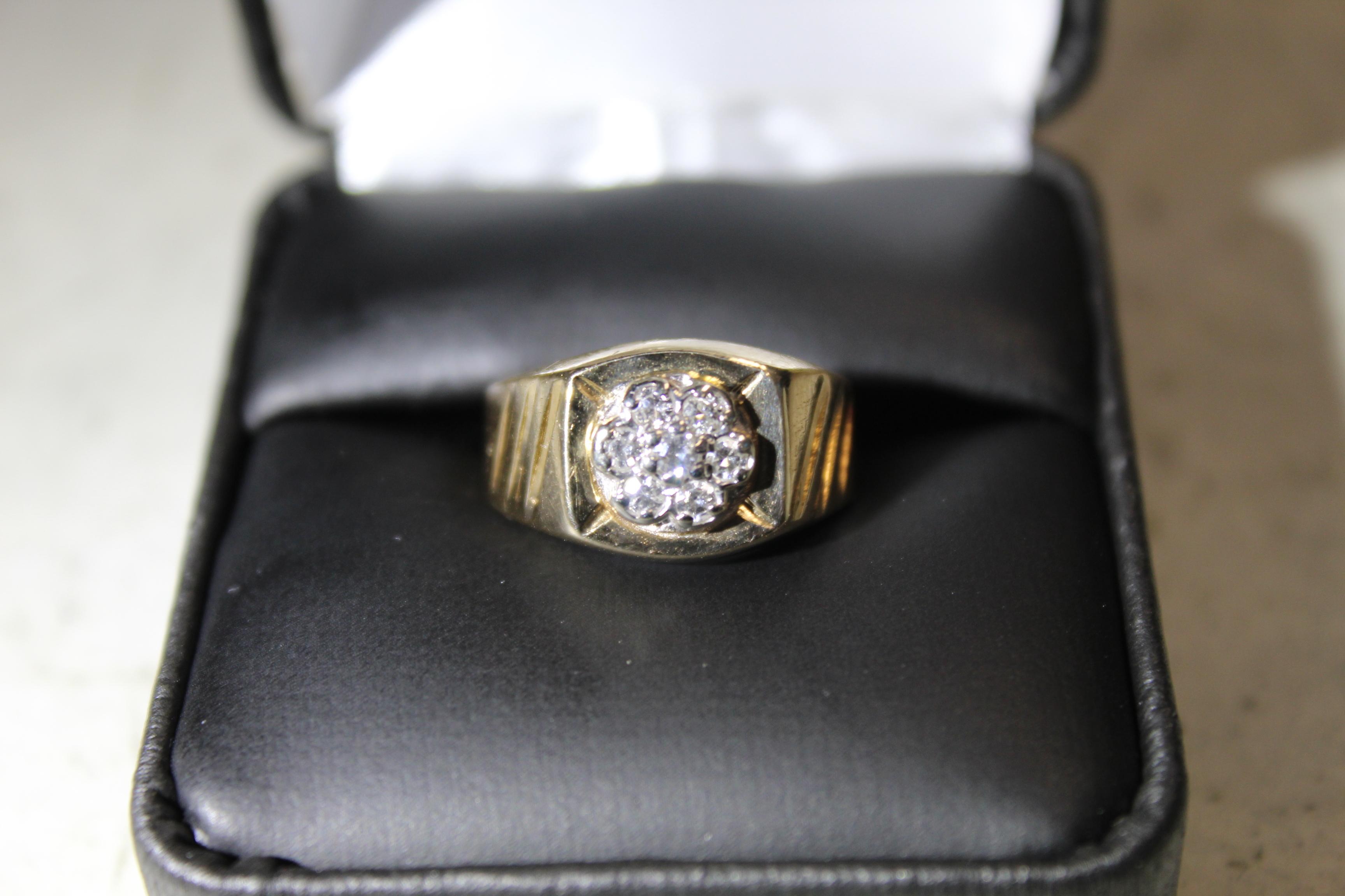 14k Yellow Gold Men's Diamond Cluster ring