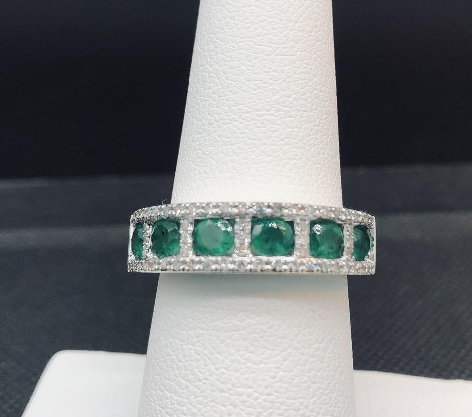 RING JEWELRY EMERALD AND DIAMOND BAND