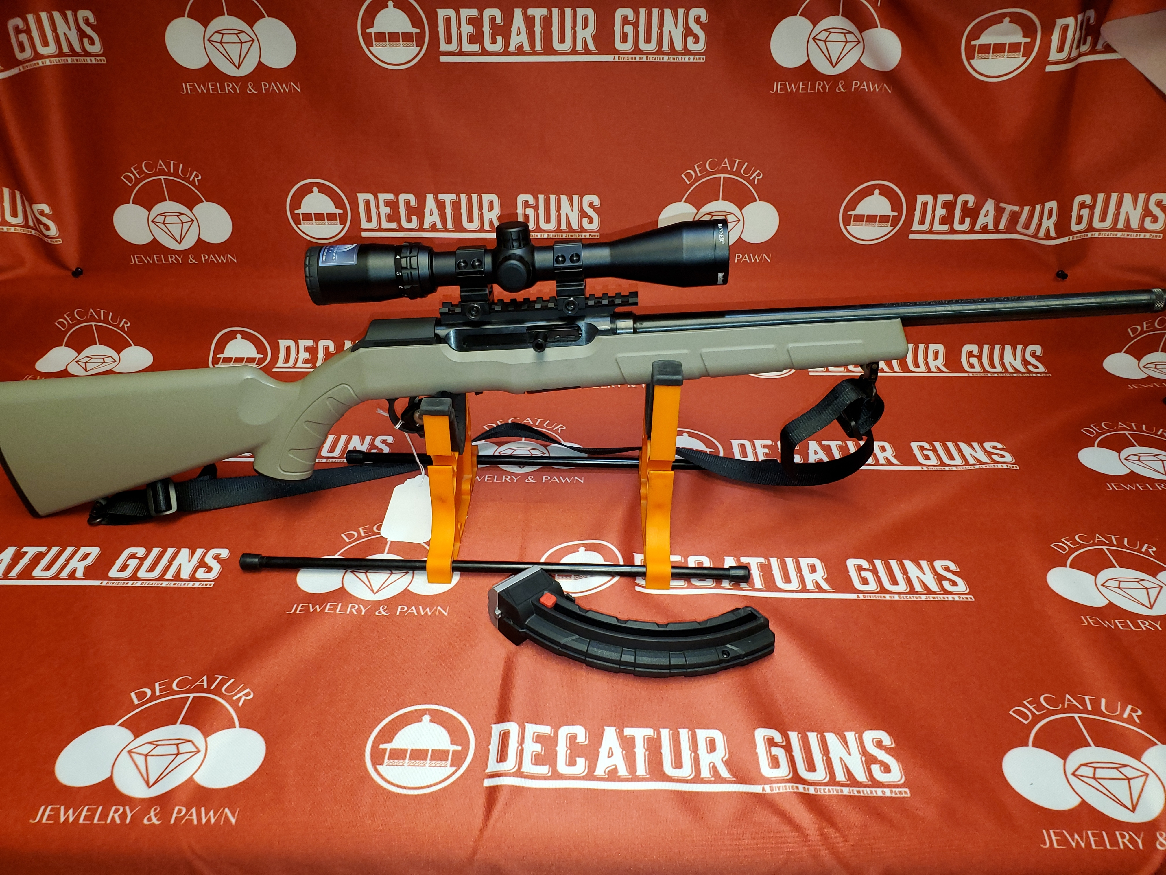 SAVAGE ARMS A22 FDE .22LR RIFLE W/ BUSHNELL BANNER DUSK TO DAWN SCOPE