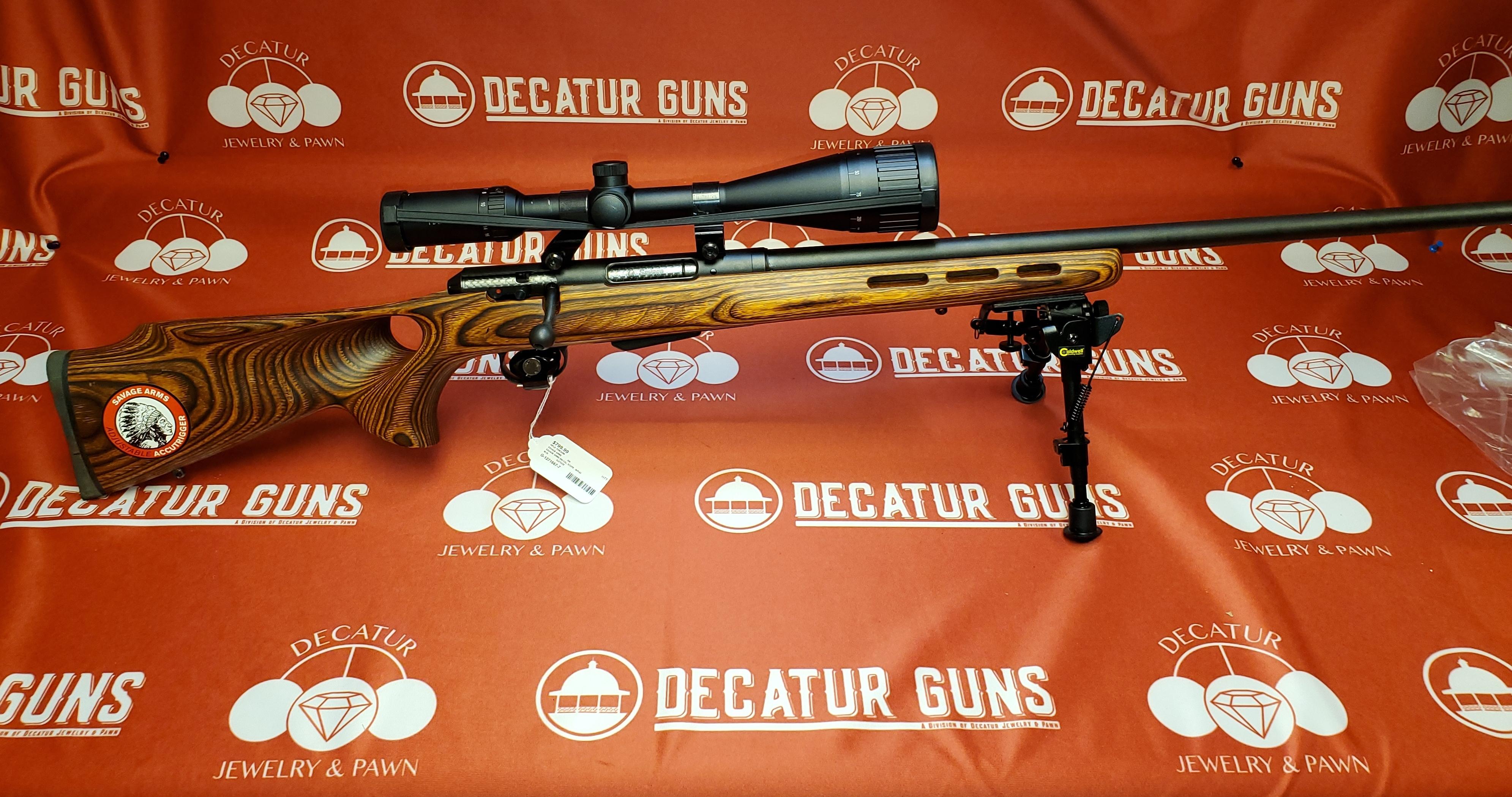 SAVAGE ARMS M-25 204 RIFLE WITH  SCOPE, BEAUTIFUL STOCK & BIPOD