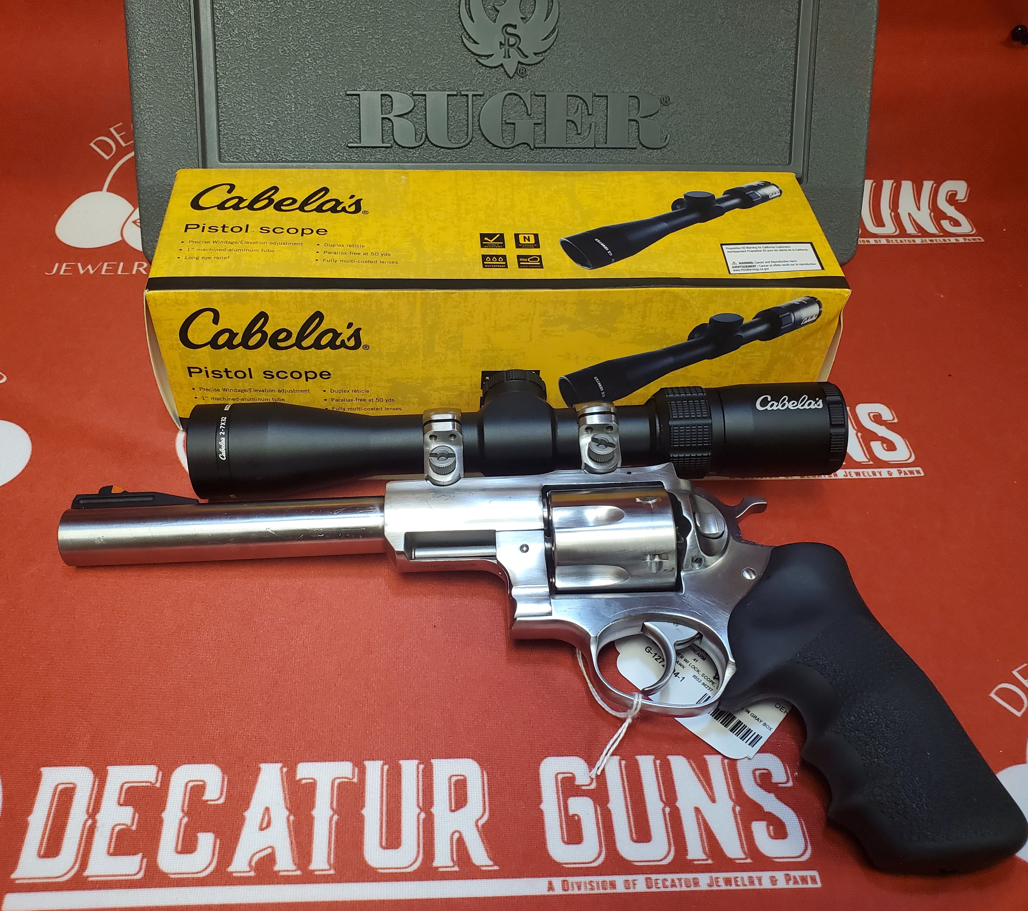 RUGER SUPER REDHAWK .41 CAL STAINLESS REVOLVER W/ CABELA'S 2-7X32 PISTOL SCOPE