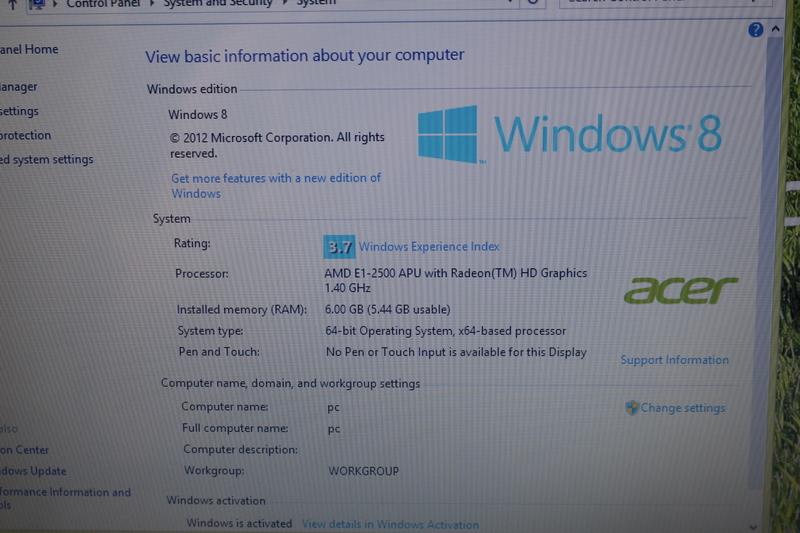 Broken Acer E1 522 3442 Amd E1 1 4ghz 6gb Ram 500gb Hd 15 6 Windows 8 Read Ebay