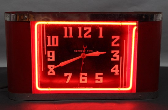 Large Antique Art Deco New York Correct Time Red Neon Mantle Clock Working Ebay