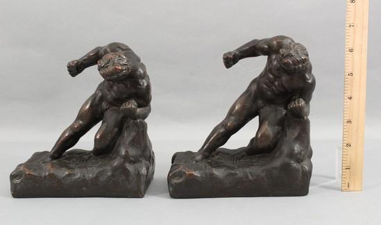 Pair Antique, Bronze Clad, Nude Male Gladiators Figural